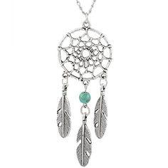MJartoria Women's Dangling Feather Turquoise Charms Filigree Tribal Dreamcatcher Pendant Chain Necklace MJartoria http://www.amazon.com/dp/B011U1VWNG/ref=cm_sw_r_pi_dp_EHr1vb0KR68FH