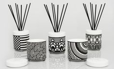 Scents with stories: Japanese artist Takahashi Hiroko releases personal home fragrances – Home Decor & DIY Japanese Taste, Room Diffuser, Monochrome Pattern, Candle Containers, Container Design, Wallpaper Magazine, Luxury Candles, Japanese Artists, Home Fragrances