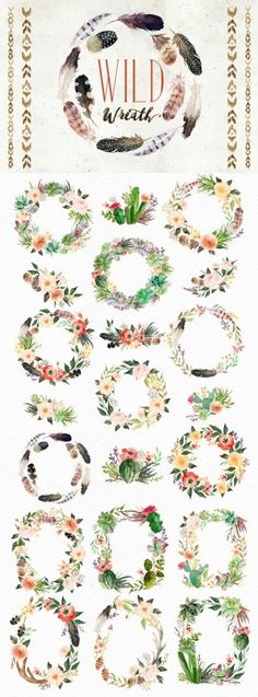 Watercolor Wild West Collection/Wedding/Clip art collection/Individual PNG files/Hand Painted/boho s Wreath Watercolor, Watercolor Flowers, Watercolor Paintings, Drawing Flowers, Corona Floral, Illustration Blume, Wreath Drawing, Budget Planer, Boho Stil