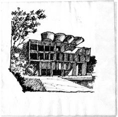 Cocktail Napkin Sketch Contest - 2014 || Runners-Up Registered John D. Hicks, Architect, Architects America, Muncie, IN Napkin Sketch Title: Le Corbusier in India