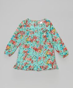 Love this Turquoise & Red Floral Ruffle Tunic - Toddler & Girls on #zulily! #zulilyfinds