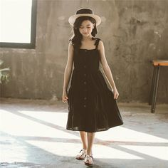 4 to 16 years kids & teenager girls summer black pink button front flare midi dress children cotton casual sleeveless vest dress Cheap Baby Clothes, Cheap Dresses, Summer Girls, Flare, Vest, Button, Children, Casual, Pink