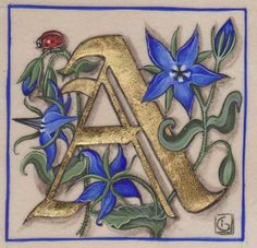 "Initial letter ""A"" SOLD - Photo of Medieval miniatures - Atelier Cécile Izambert (illumination, painting, old techniques . Fancy Letters, Monogram Letters, Alphabet Art, Letter Art, Illuminated Letters, Illuminated Manuscript, Illumination Art, Beautiful Calligraphy, Medieval Manuscript"