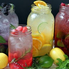 "Naturally Flavored Water -- An easy formula for making an endless variety of fruit and herb infused waters. Say goodbye to soda, juice, and bottled water with these refreshing, healthy ""spa water"" flavors! by Jaime Hudson Refreshing Drinks, Summer Drinks, Fun Drinks, Healthy Drinks, Healthy Recipes, Beverages, Simple Recipes, Summertime Drinks, Detox Drinks"