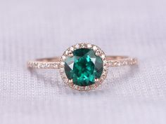 Emerald Engagement ring Rose Gold Round Green