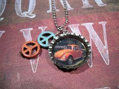 orange VW volkswagen bug vintage bottle cap necklace with peace sign beads