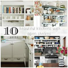 open shelving inspiration - creating extra room in the kitchen with open shelves that still offer crisp, clean look!