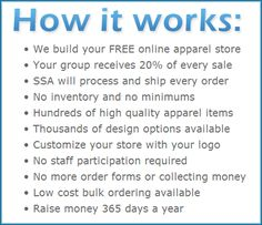 How a Custom Apparel Store for School #Fundraising works through SSA #Apparel Stores. Highly Recommend School Fundraising Idea! Click to find out more and to get started!