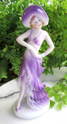 German Art Deco Flapper Girl Lady Figurine Marked Made in Germany