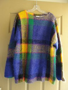 vintage striped plaid wool mohair sweater by Kenar labeled size medium 80s 90s 1980s 1990s purple yellow oversize slouchy