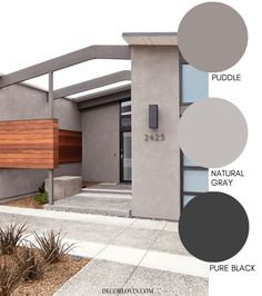 These modern exterior paint colors are perfect for your home. The best resource for modern color schemes that will look good on any home exterior. Outside House Paint Colors, Exterior Paint Colors For House, Paint Colors For Home, Home Painting Outside, Stucco House Colors, House Exterior Color Schemes, Exterior Design, Interior And Exterior, Modern House Colors