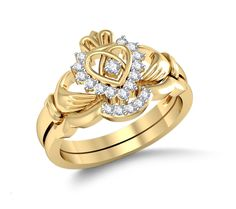 Diamond Heart Claddagh Ring Bridal Set Set in 14 Kt Yellow Gold (4.40 gms) with Diamonds (0.19 Ct)