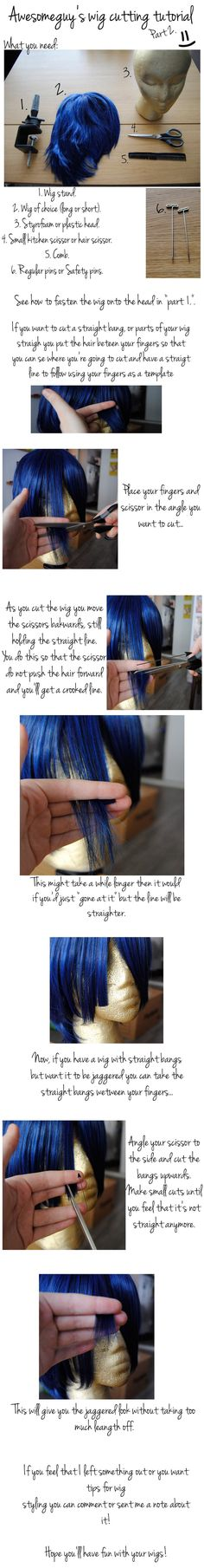 This is my first tutorial that I have made myself so please don't get angry if it doesn't make any sense Wig cutting tutorial [part Pictures taken by. Awesomeguy's Wig Cutting Tutorial Part 1 Costume Tutorial, Cosplay Tutorial, Cosplay Diy, Cosplay Makeup, Cosplay Outfits, Diy Tutorial, Halloween Wigs, Halloween Cosplay, Halloween Ideas