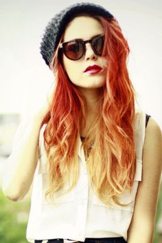 true red ombre hair