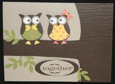 What a perfect pair - lovebirds using the Stampin' Up owl punch