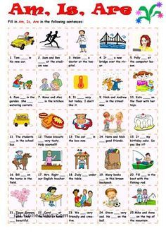 """Twenty-five sentences for practicing the forms of the verb """"To be"""" in the Present Simple Tense. Key is included."""