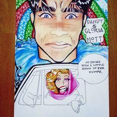 Dandy & Gloria Mott ~ colored pencil and ink drawing, cartoon/anime AHS Freakshow Me Anime, Ahs, American Horror Story, Dandy, Caricature, Colored Pencils, Fan Art, Cartoon, Drawings