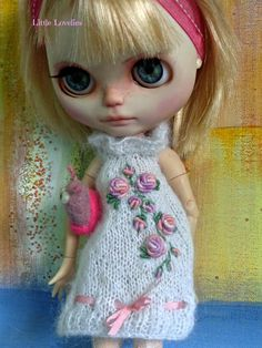 5ed38821d BLYTHE or Pullip DOLL Dress - OOAK - Pure white mohair with vintage  embroidered flowers