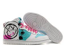 Nike Dunk High Blink 182 Smiley Face Logo 5 flèches bleu rose Cartoon montantes fast shipping
