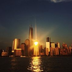 The sun sets over Manhattan in this photo Liz took from a boat ride around the city.