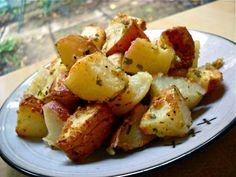 "I decided to roast the rest but with some different seasonings. A quick look in my refrigerator (for more unused ""leftover"" ingredients) had me set on parmesan and garlic roasted potatoes. I must say, with their crispy parmesan crust, these potatoes disappeared even faster than the last batch!"