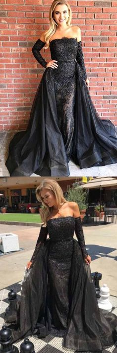 Strapless Black Tulle Prom Dress with Lace Appliques Detachable Train