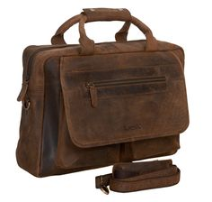 KomalC 16 Inch Retro Buffalo Hunter Vintage Leather Laptop Messenger Bag Office Briefcase College Bag For Men and Women / Fits upto 15.6 Inch Laptop