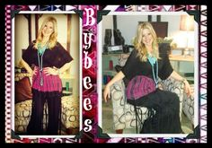 Love this look, tye dye empire waist tunic top matched with fringe palazzo pants!