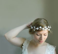 White 'Marian' Flower Headpiece  Rustic by VioletteandIris on Etsy, $75.00