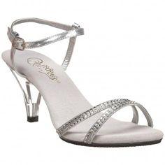 Sandales argentées à petit talon transparent BELLE,316