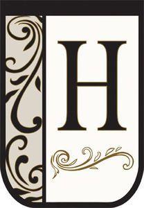 Double Applique Monogram Decorative Garden Flag - Letter H