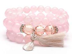 Zestaw bransoletek z kamieni jadeit różowy  Bransoletki