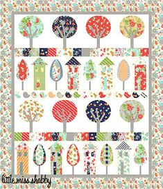 Happy Village: free pattern from Corey Yoder of Little Miss Shabby. I like the trees. Shown in Happy Go Lucky fabrics from Moda. Quilting Blogs, Quilting Projects, Quilting Designs, Modern Quilting, House Quilt Block, House Quilts, Small Quilts, Mini Quilts, Quilt Patterns Free