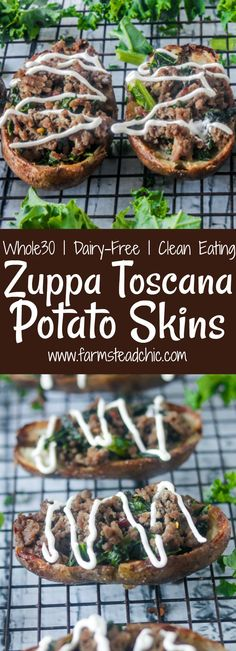 These Dairy-Free and Whole30 Zuppa Toscana Potato Skins are packed full of Italian sausage, kale and garlic, Italian seasoning and crushed red pepper.