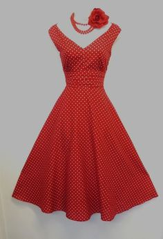 1940/50s style Red white  Polka Summer Swing Tea  Dress