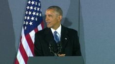 Former President Barack Obama speaks to staff and supporters at Joint Base Andrews after President Donald Trump's inauguration.
