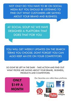 We listen for your brand so you dont have too.  www.socialsoupnz.co.nz