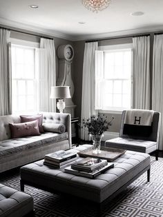 ♅ Dove Gray Home Decor ♅ grey living room with tufted furniture More