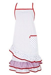 white blue red frilly apron