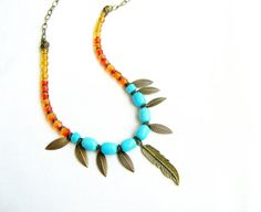 Cockatoo Amulet Necklace  leaves feather charms Czech by AlinaandT, $32.00