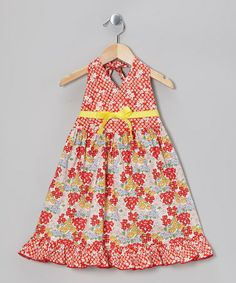 Take a look at this Orange Forget Me Knot Halter Dress - Toddler & Girls by Beary Basics on #zulily today!