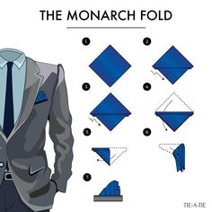 """bows-n-ties: """" The Monarch Pocket Square Fold """""""