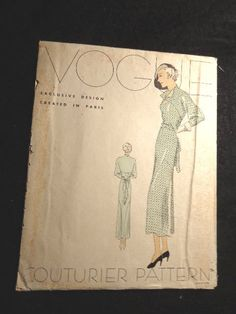 Vogue Couturier Design  No. 299 1930's  vintage dress  36 bust 39 hip No. 299     Afternoon frock features an overlapping bodice section draped in back, giving the effect of a double sash above tied ends.  Three-quarters length kimono sleeves are seamed to fit arm below elbow.  Gussets at underarms.  Inset yoke at front, turns back forming small lapels.  Built-up neck at back is fitted with tucks.  Skirt joins blouse at waistline in front, above waistline in back.  Shaped sectional seam in…