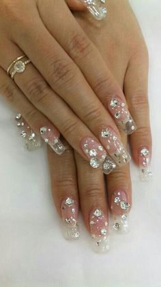 Clear nails with crystals