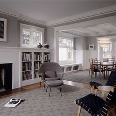 """Like wall color and built-ins near fireplace/under window - BM Gray Horse 2140-50 (ceiling is Decorators White CC-20 and trim is White Dove OC17)"""""""