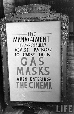 London,1939, Carl Mydans. Make sure you have your gas mask before entering the Cinema to watch the movie.