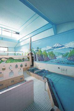 銭湯 sento (public bath) - similar to the one i used to visit in 弘明寺 Japanese Public Bath, Japanese Bath House, Japanese Hot Springs, Japanese Lifestyle, Public Bathrooms, Tokyo, Best Bath, Cool Pools, Houses