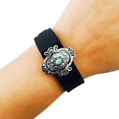 Charm to Accessorize the Fitbit Flex, Garmin Vivosmart, Xiaomi Mi, Jawbone Up, Garmin Vivofit, Vivosmart HR, Fitbit Charge or Charge HR - The JADA Engraved Silver and Turquoise Cabochon Charm to Dress Up Your Favorite Fitness Tracker by Funktional Wearables