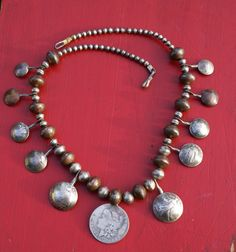 Antique Navajo Pawn Coin Necklace - sterling silver & coins-  24.5 in long.