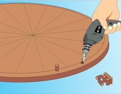 5 Ways to Make a Prize Wheel - like the idea of dowels rather than nails for each segment of a prize wheel. Also, using leather rather than a zip tie